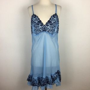 Cacique Blue Embroidered Night Gown 14/16